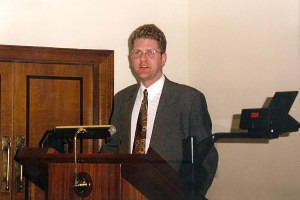 Mark speaking at the First International Space Syntax Symposium in London in 1997.